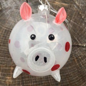 Blown Glass White Spotted Red Polka Dot Round Pig